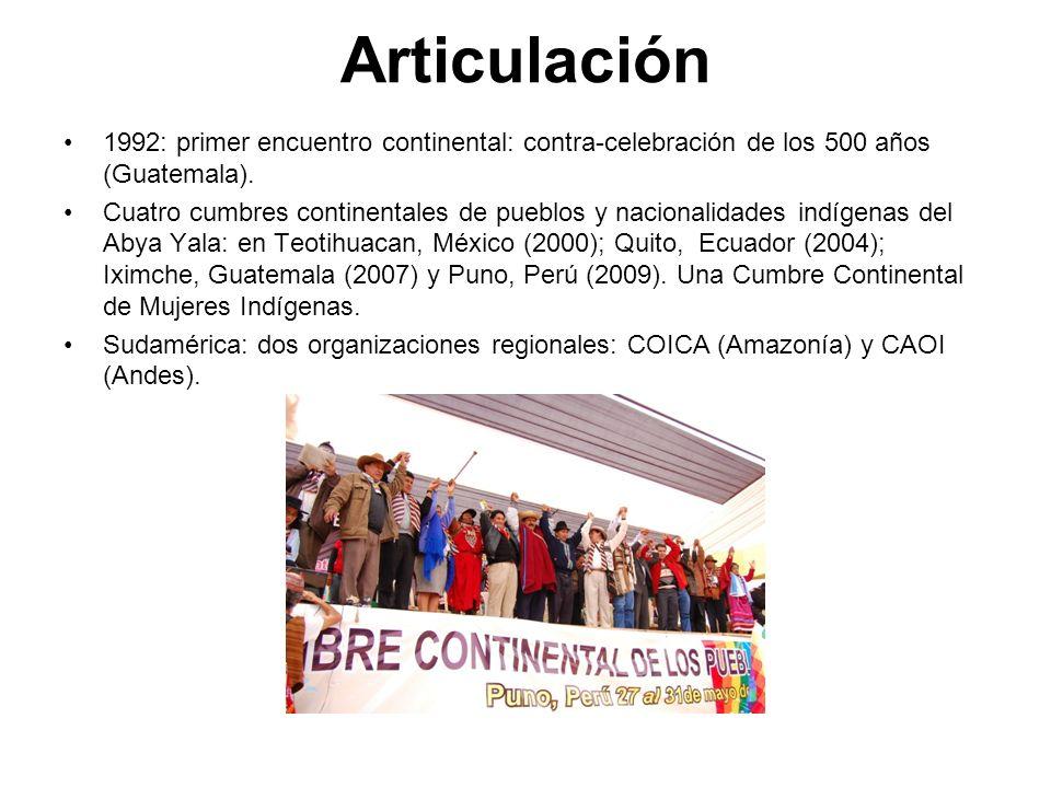 Articulación 1992: primer encuentro continental: contra-celebración de los 500 años (Guatemala). Cuatro cumbres continentales de pueblos y nacionalida
