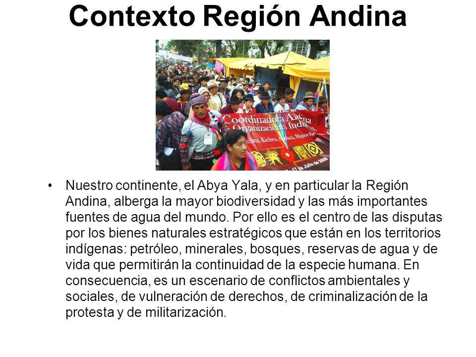 Contexto Región Andina Nuestro continente, el Abya Yala, y en particular la Región Andina, alberga la mayor biodiversidad y las más importantes fuente