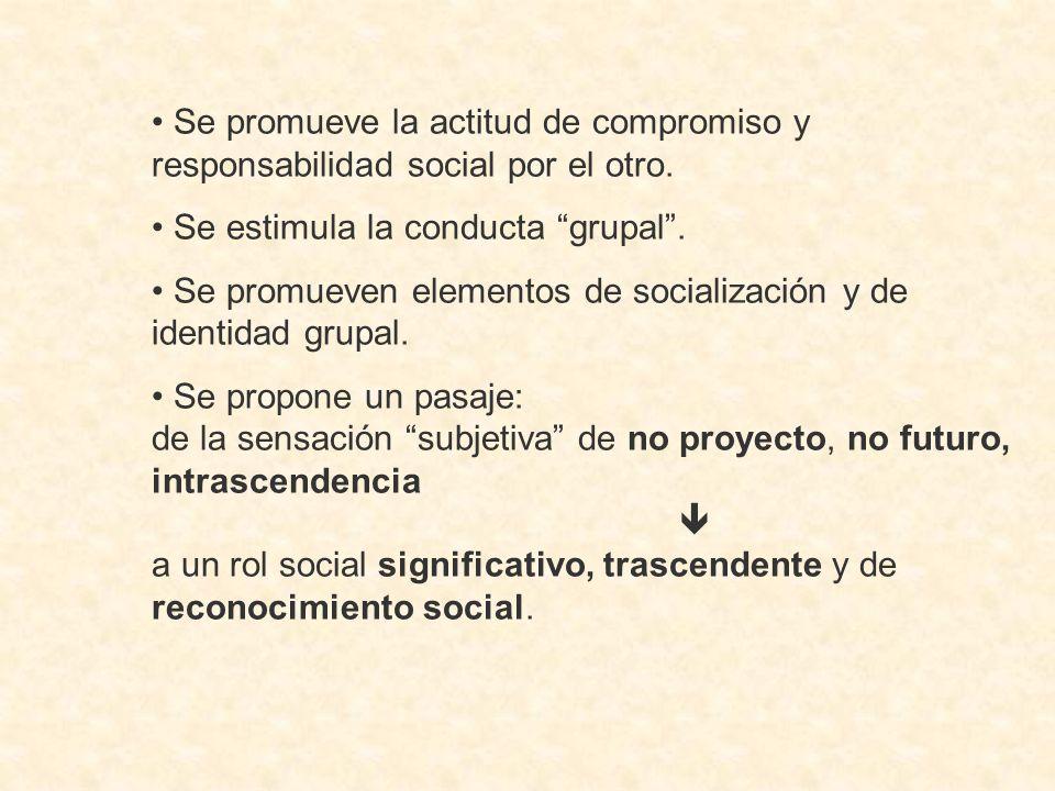 Se promueve la actitud de compromiso y responsabilidad social por el otro.