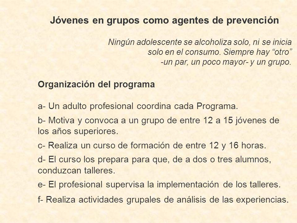 Jóvenes en grupos como agentes de prevención Ningún adolescente se alcoholiza solo, ni se inicia solo en el consumo.
