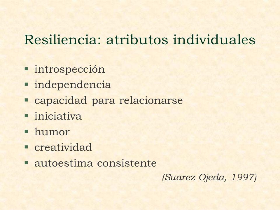 Resiliencia: atributos individuales §introspección §independencia §capacidad para relacionarse §iniciativa §humor §creatividad §autoestima consistente (Suarez Ojeda, 1997)