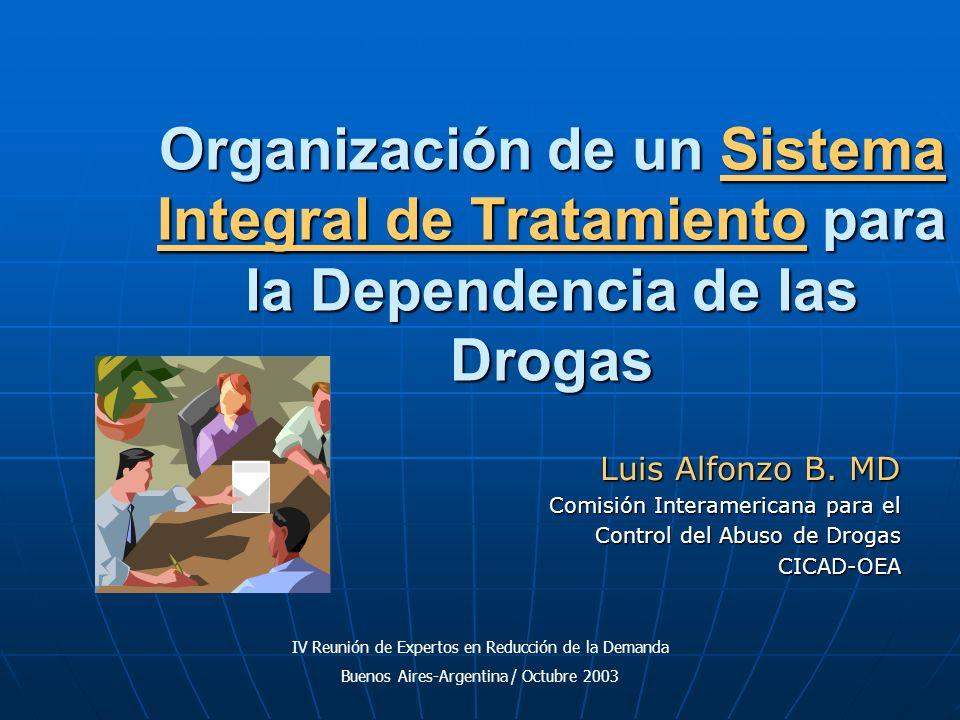 Organización de un Sistema Integral de Tratamiento para la Dependencia de las Drogas Luis Alfonzo B. MD Comisión Interamericana para el Control del Ab