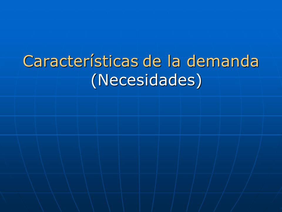 Características de la demanda (Necesidades)