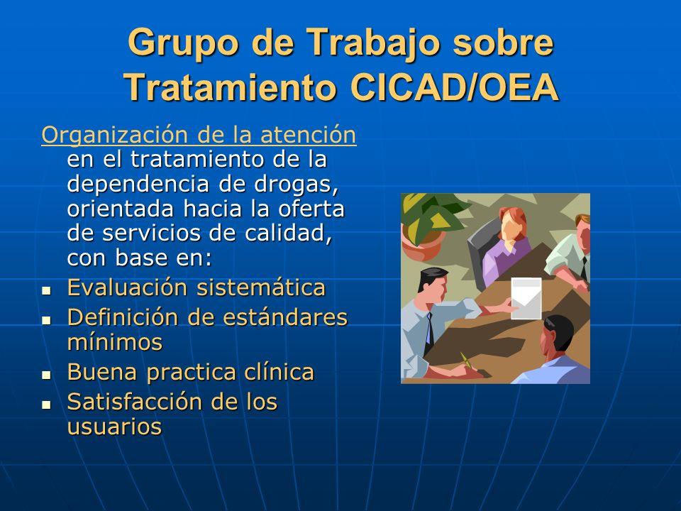 Grupo de Trabajo sobre Tratamiento CICAD/OEA en el tratamiento de la dependencia de drogas, orientada hacia la oferta de servicios de calidad, con bas
