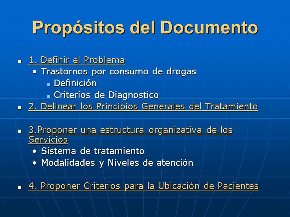 Propósitos del Documento 1. Definir el Problema 1. Definir el Problema Trastornos por consumo de drogasTrastornos por consumo de drogas Definición Def