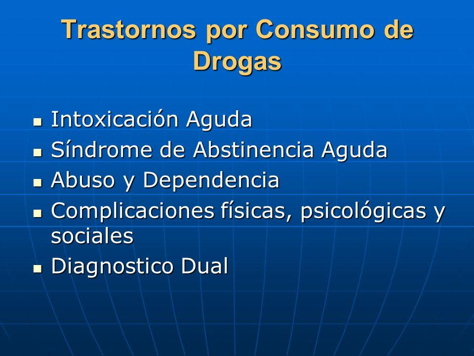 Trastornos por Consumo de Drogas Intoxicación Aguda Intoxicación Aguda Síndrome de Abstinencia Aguda Síndrome de Abstinencia Aguda Abuso y Dependencia