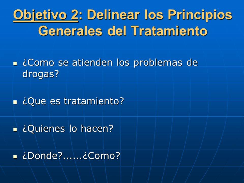Objetivo 2: Delinear los Principios Generales del Tratamiento ¿Como se atienden los problemas de drogas? ¿Como se atienden los problemas de drogas? ¿Q