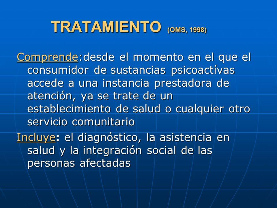TRATAMIENTO (OMS, 1998) Comprende:desde el momento en el que el consumidor de sustancias psicoactívas accede a una instancia prestadora de atención, y