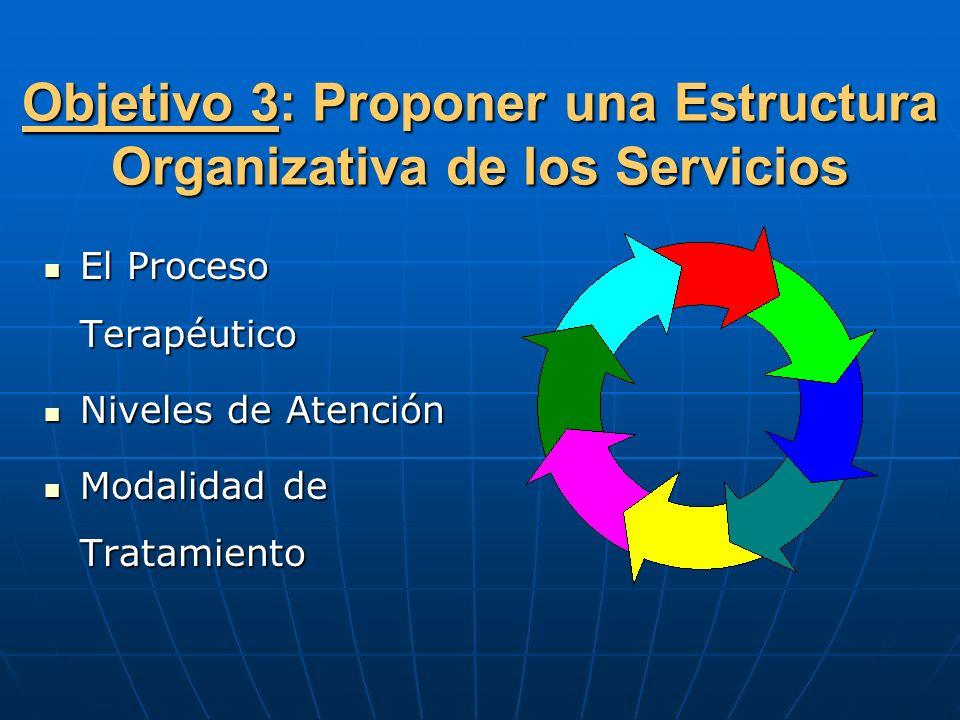 Objetivo 3: Proponer una Estructura Organizativa de los Servicios El Proceso Terapéutico El Proceso Terapéutico Niveles de Atención Niveles de Atenció