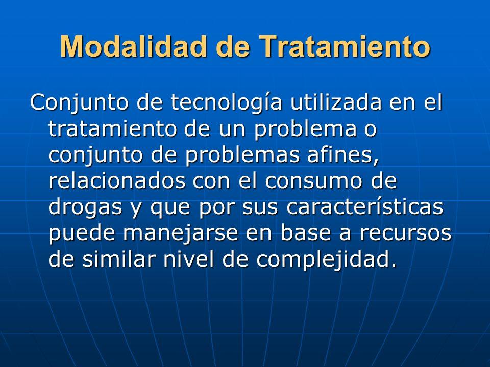 Modalidad de Tratamiento Conjunto de tecnología utilizada en el tratamiento de un problema o conjunto de problemas afines, relacionados con el consumo