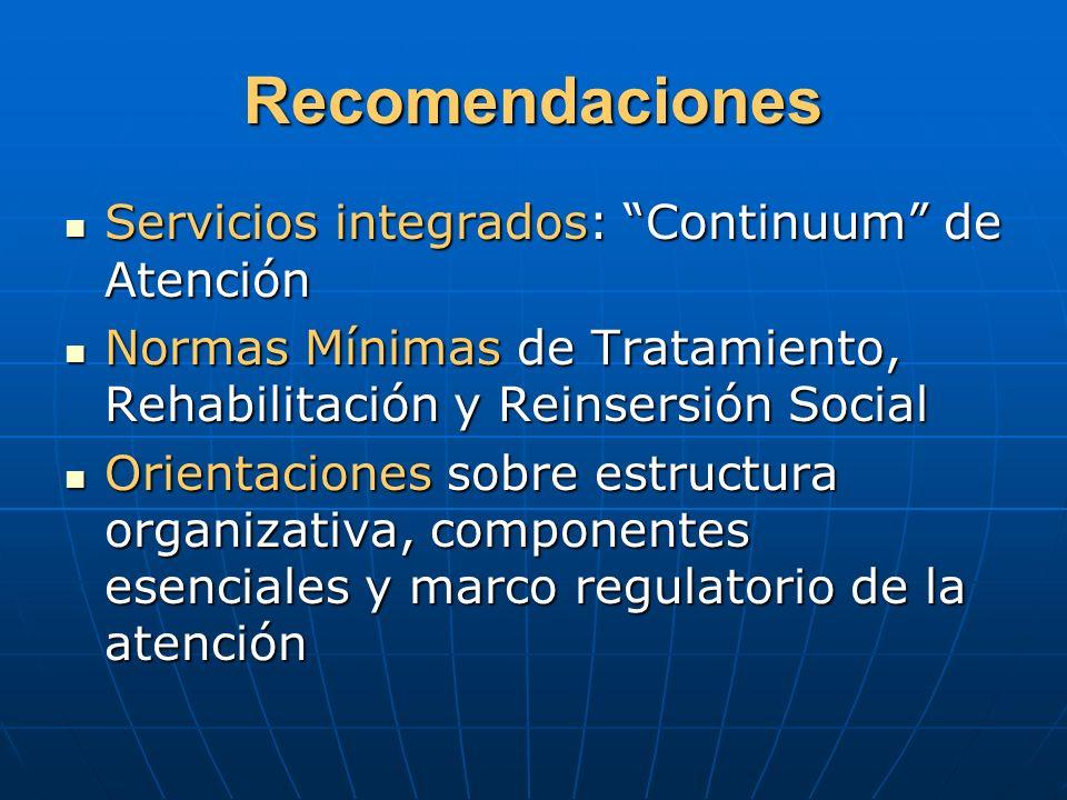 Recomendaciones Servicios integrados: Continuum de Atención Servicios integrados: Continuum de Atención Normas Mínimas de Tratamiento, Rehabilitación
