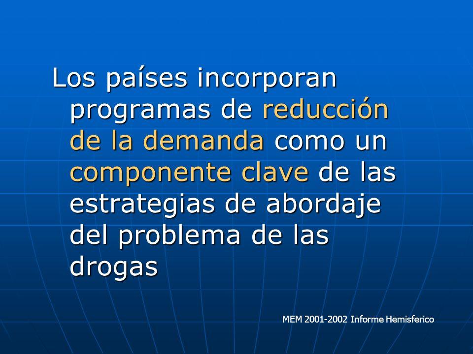 Los países incorporan programas de reducción de la demanda como un componente clave de las estrategias de abordaje del problema de las drogas MEM 2001