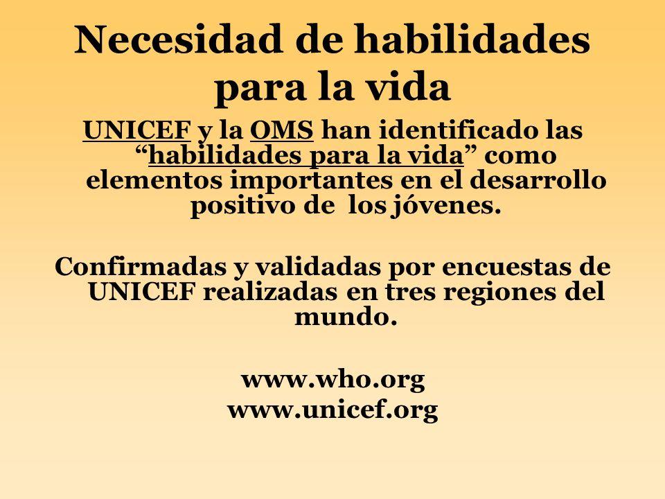 Necesidad de habilidades para la vida UNICEF y la OMS han identificado lashabilidades para la vida como elementos importantes en el desarrollo positiv