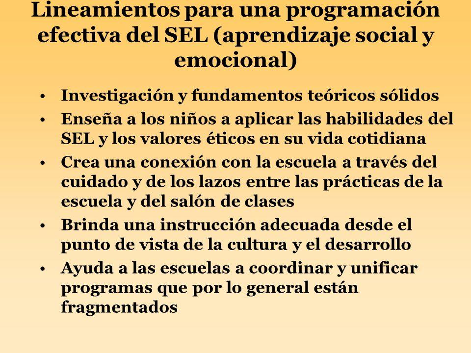 Lineamientos para una programación efectiva del SEL (aprendizaje social y emocional) Investigación y fundamentos teóricos sólidos Enseña a los niños a