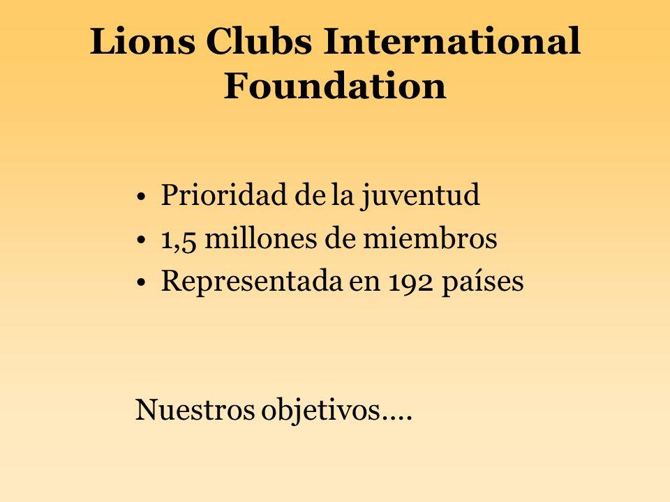 Lions Clubs International Foundation Prioridad de la juventud 1,5 millones de miembros Representada en 192 países Nuestros objetivos….