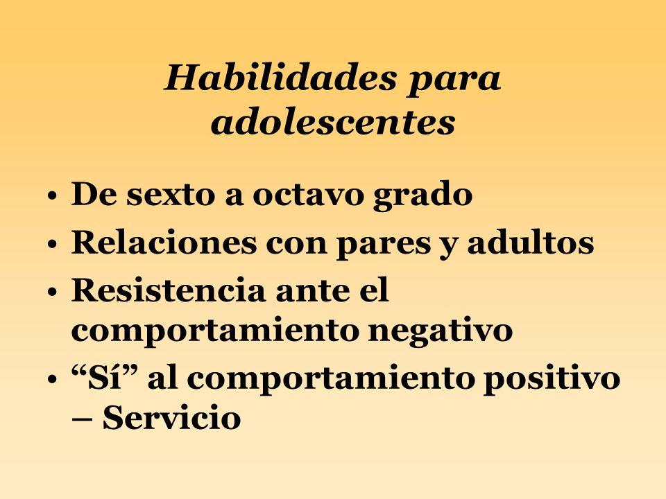 Habilidades para adolescentes De sexto a octavo grado Relaciones con pares y adultos Resistencia ante el comportamiento negativo Sí al comportamiento