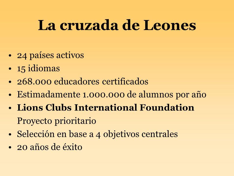 La cruzada de Leones 24 países activos 15 idiomas 268.000 educadores certificados Estimadamente 1.000.000 de alumnos por año Lions Clubs International