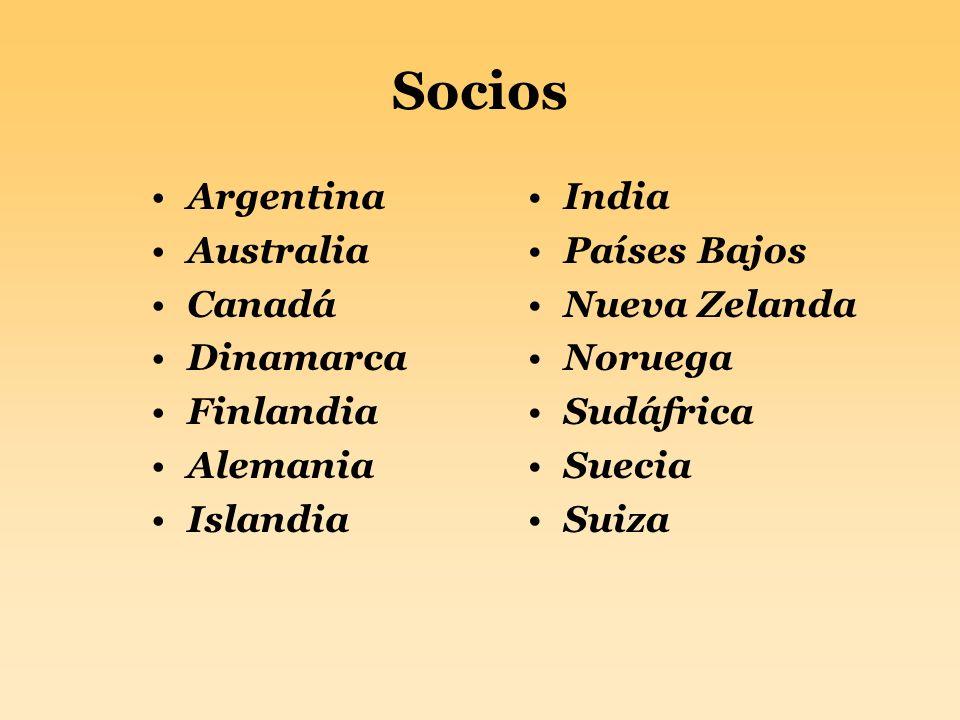 Socios Argentina Australia Canadá Dinamarca Finlandia Alemania Islandia India Países Bajos Nueva Zelanda Noruega Sudáfrica Suecia Suiza