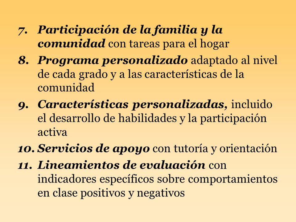 7.Participación de la familia y la comunidad con tareas para el hogar 8.Programa personalizado adaptado al nivel de cada grado y a las características