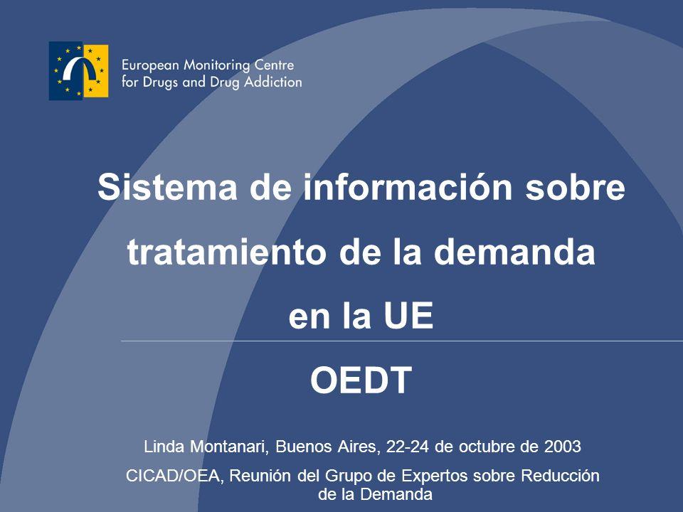 Linda Montanari, Buenos Aires, 22-24 de octubre de 2003 CICAD/OEA, Reunión del Grupo de Expertos sobre Reducción de la Demanda Sistema de información sobre tratamiento de la demanda en la UE OEDT