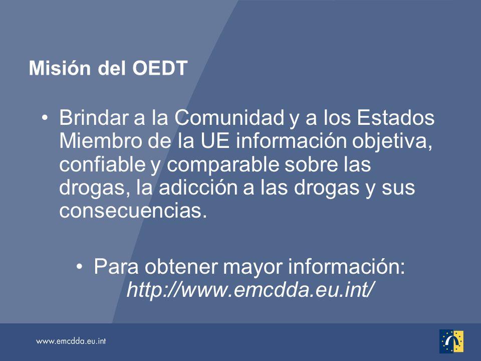 Brindar a la Comunidad y a los Estados Miembro de la UE información objetiva, confiable y comparable sobre las drogas, la adicción a las drogas y sus consecuencias.
