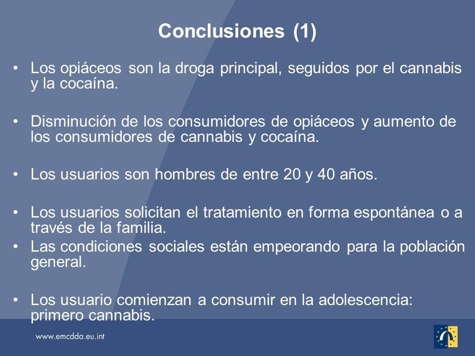Los opiáceos son la droga principal, seguidos por el cannabis y la cocaína.