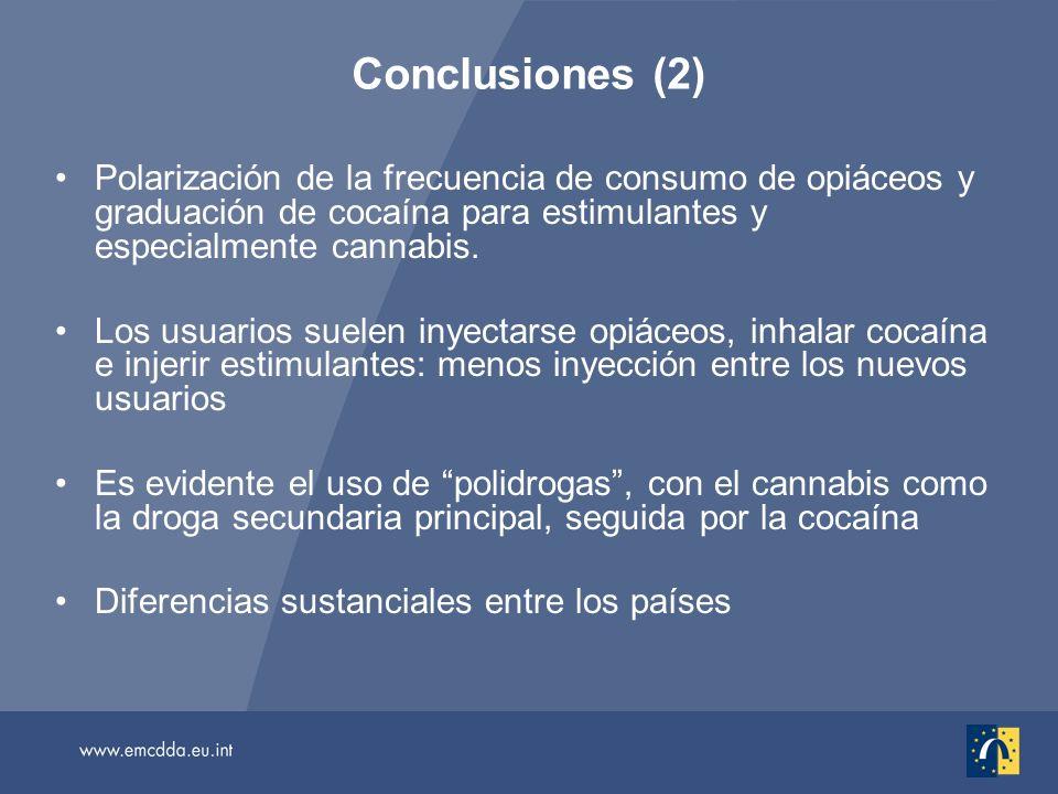 Polarización de la frecuencia de consumo de opiáceos y graduación de cocaína para estimulantes y especialmente cannabis.