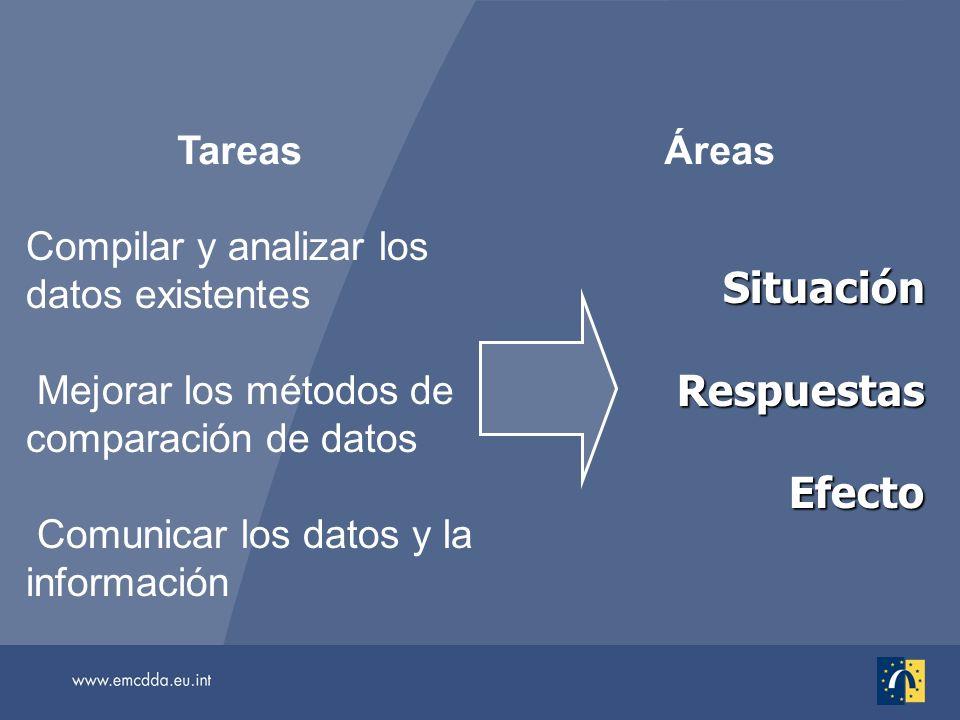 Compilar y analizar los datos existentes Mejorar los métodos de comparación de datos Comunicar los datos y la información Tareas SituaciónRespuestasEfecto Áreas