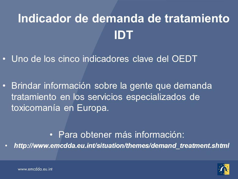 Indicador de demanda de tratamiento IDT Uno de los cinco indicadores clave del OEDT Brindar información sobre la gente que demanda tratamiento en los servicios especializados de toxicomanía en Europa.