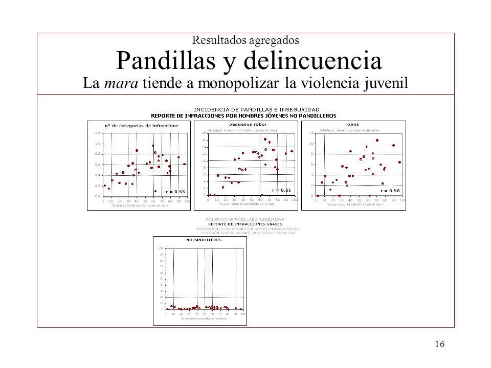 16 Resultados agregados Pandillas y delincuencia La mara tiende a monopolizar la violencia juvenil