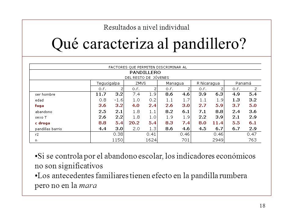 18 Resultados a nivel individual Qué caracteriza al pandillero? Si se controla por el abandono escolar, los indicadores económicos no son significativ