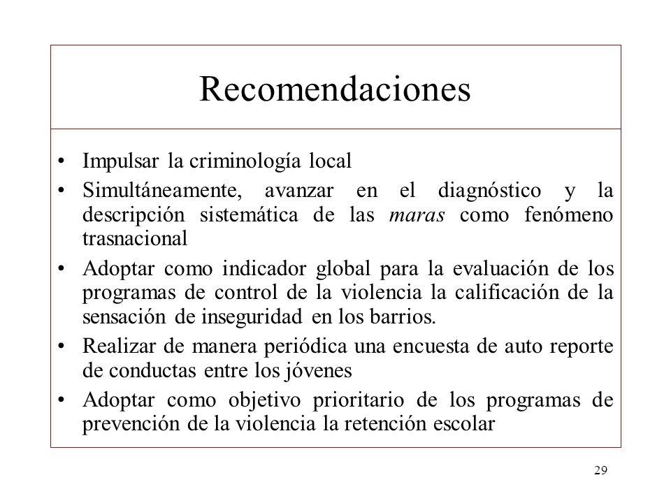 29 Recomendaciones Impulsar la criminología local Simultáneamente, avanzar en el diagnóstico y la descripción sistemática de las maras como fenómeno t