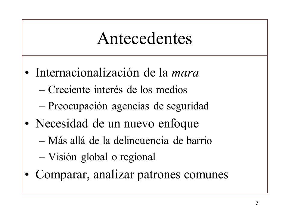 3 Antecedentes Internacionalización de la mara –Creciente interés de los medios –Preocupación agencias de seguridad Necesidad de un nuevo enfoque –Más