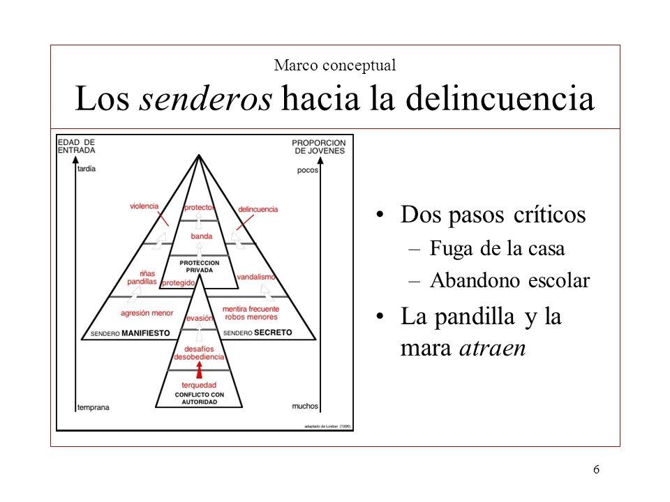 6 Marco conceptual Los senderos hacia la delincuencia Dos pasos críticos –Fuga de la casa –Abandono escolar La pandilla y la mara atraen