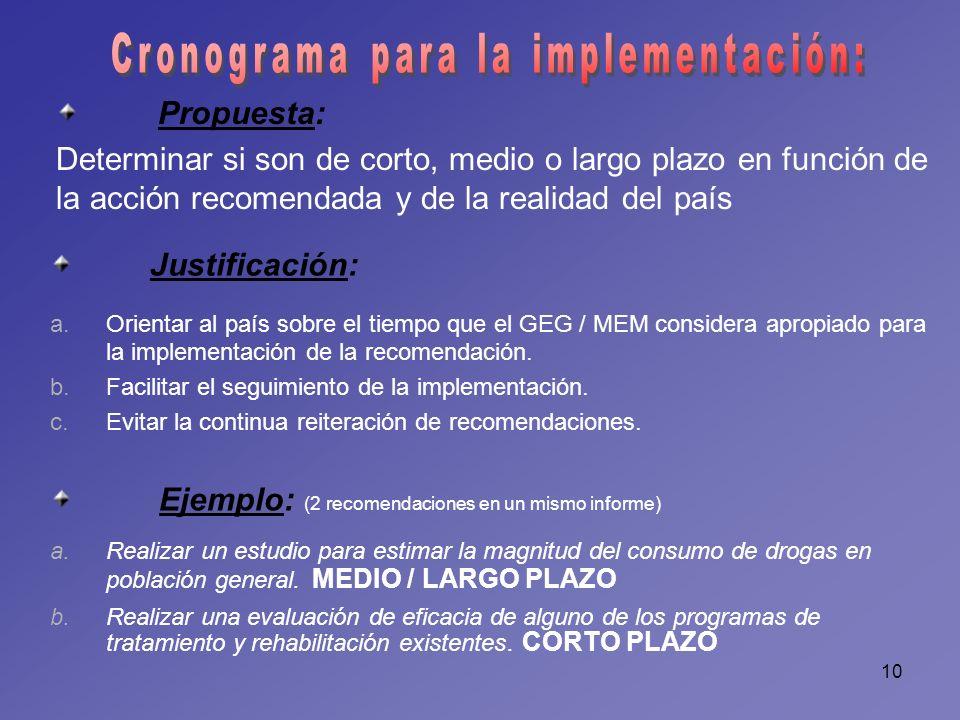 10 Propuesta: Determinar si son de corto, medio o largo plazo en función de la acción recomendada y de la realidad del país Justificación: a.Orientar