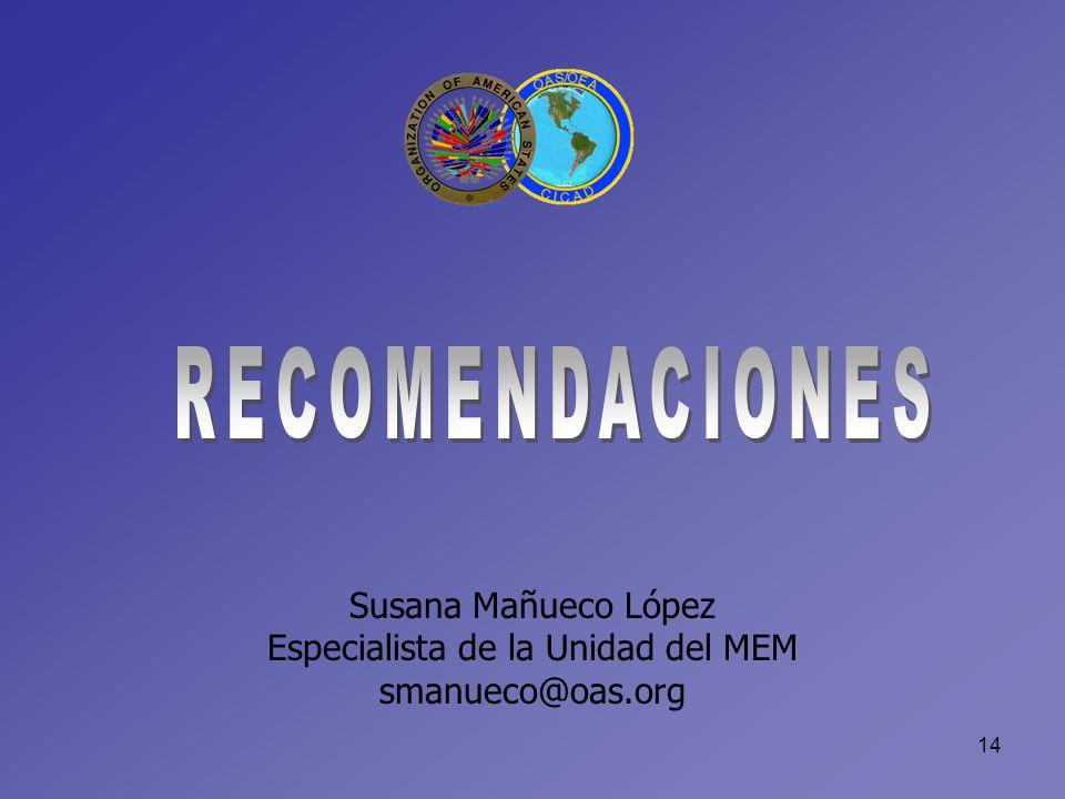 14 Susana Mañueco López Especialista de la Unidad del MEM smanueco@oas.org