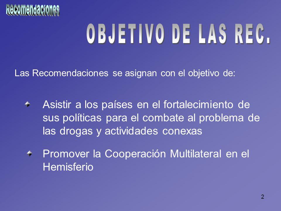 2 Las Recomendaciones se asignan con el objetivo de: Asistir a los países en el fortalecimiento de sus políticas para el combate al problema de las dr