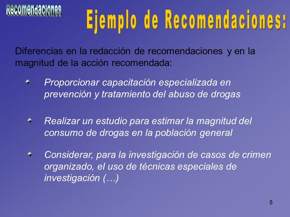 5 Diferencias en la redacción de recomendaciones y en la magnitud de la acción recomendada: Proporcionar capacitación especializada en prevención y tr