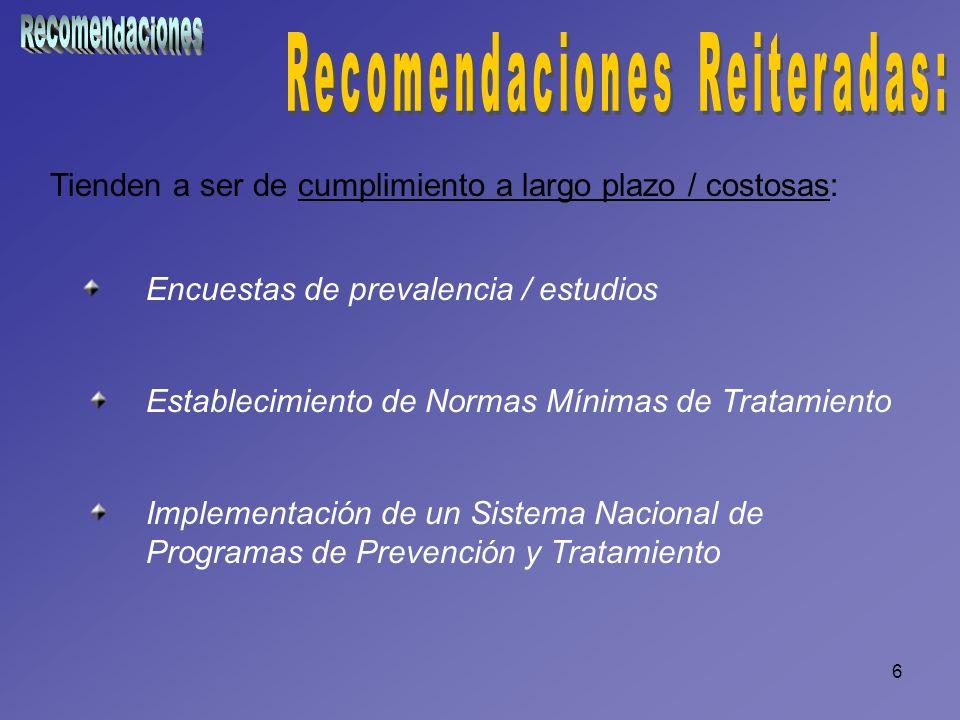 6 Tienden a ser de cumplimiento a largo plazo / costosas: Encuestas de prevalencia / estudios Establecimiento de Normas Mínimas de Tratamiento Impleme