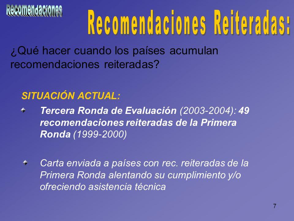 7 ¿Qué hacer cuando los países acumulan recomendaciones reiteradas? SITUACIÓN ACTUAL: Tercera Ronda de Evaluación (2003-2004): 49 recomendaciones reit