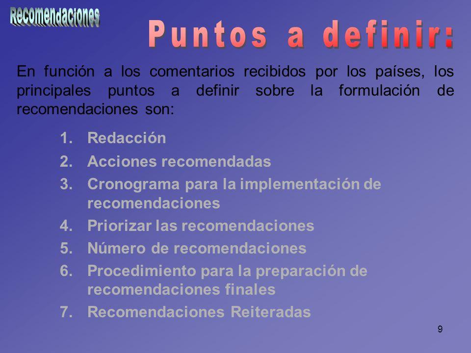 9 En función a los comentarios recibidos por los países, los principales puntos a definir sobre la formulación de recomendaciones son: 1.Redacción 2.A