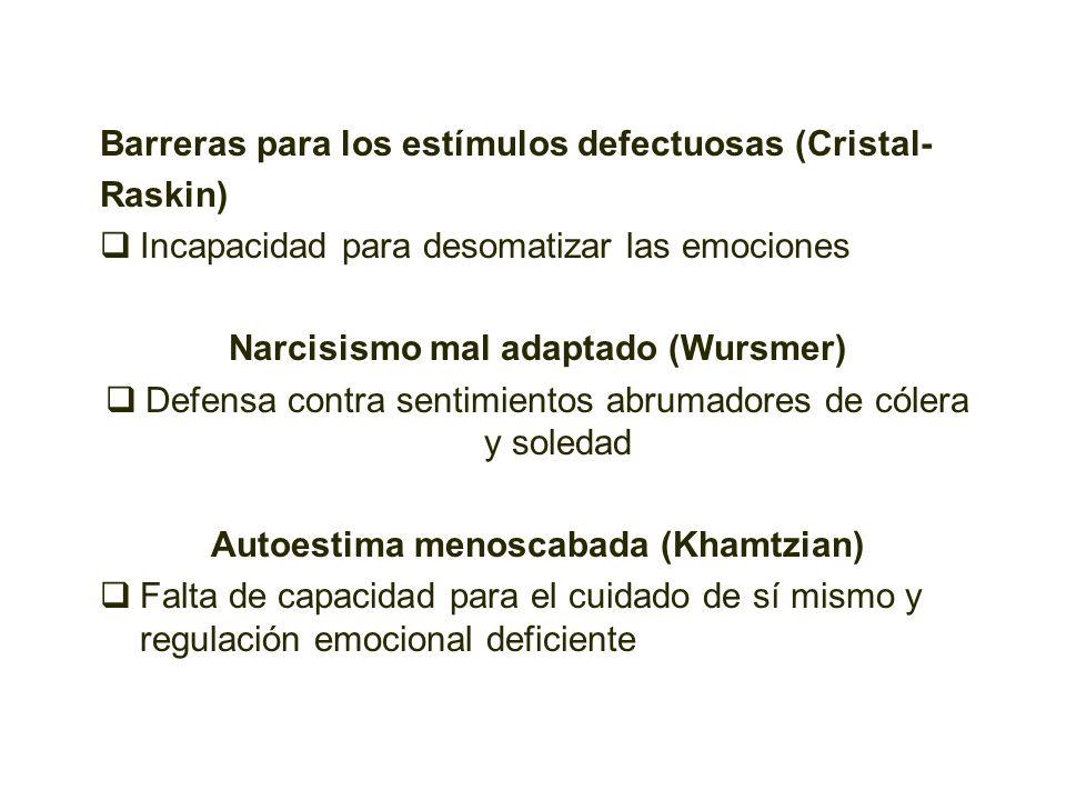 Barreras para los estímulos defectuosas (Cristal- Raskin) Incapacidad para desomatizar las emociones Narcisismo mal adaptado (Wursmer) Defensa contra