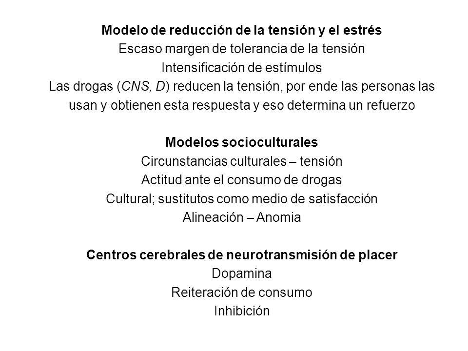 Modelo de reducción de la tensión y el estrés Escaso margen de tolerancia de la tensión Intensificación de estímulos Las drogas (CNS, D) reducen la tensión, por ende las personas las usan y obtienen esta respuesta y eso determina un refuerzo Modelos socioculturales Circunstancias culturales – tensión Actitud ante el consumo de drogas Cultural; sustitutos como medio de satisfacción Alineación – Anomia Centros cerebrales de neurotransmisión de placer Dopamina Reiteración de consumo Inhibición