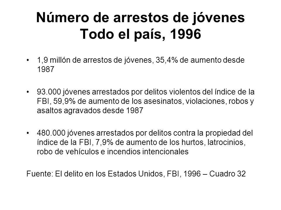 Número de arrestos de jóvenes Todo el país, 1996 1,9 millón de arrestos de jóvenes, 35,4% de aumento desde 1987 93.000 jóvenes arrestados por delitos violentos del índice de la FBI, 59,9% de aumento de los asesinatos, violaciones, robos y asaltos agravados desde 1987 480.000 jóvenes arrestados por delitos contra la propiedad del índice de la FBI, 7,9% de aumento de los hurtos, latrocinios, robo de vehículos e incendios intencionales Fuente: El delito en los Estados Unidos, FBI, 1996 – Cuadro 32