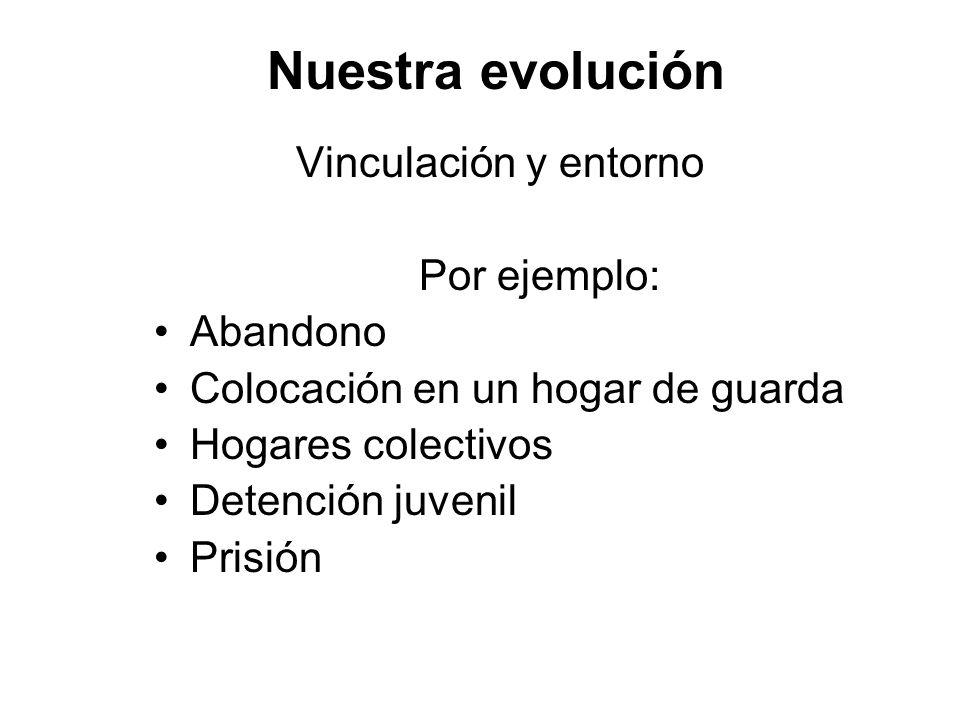 Nuestra evolución Vinculación y entorno Por ejemplo: Abandono Colocación en un hogar de guarda Hogares colectivos Detención juvenil Prisión