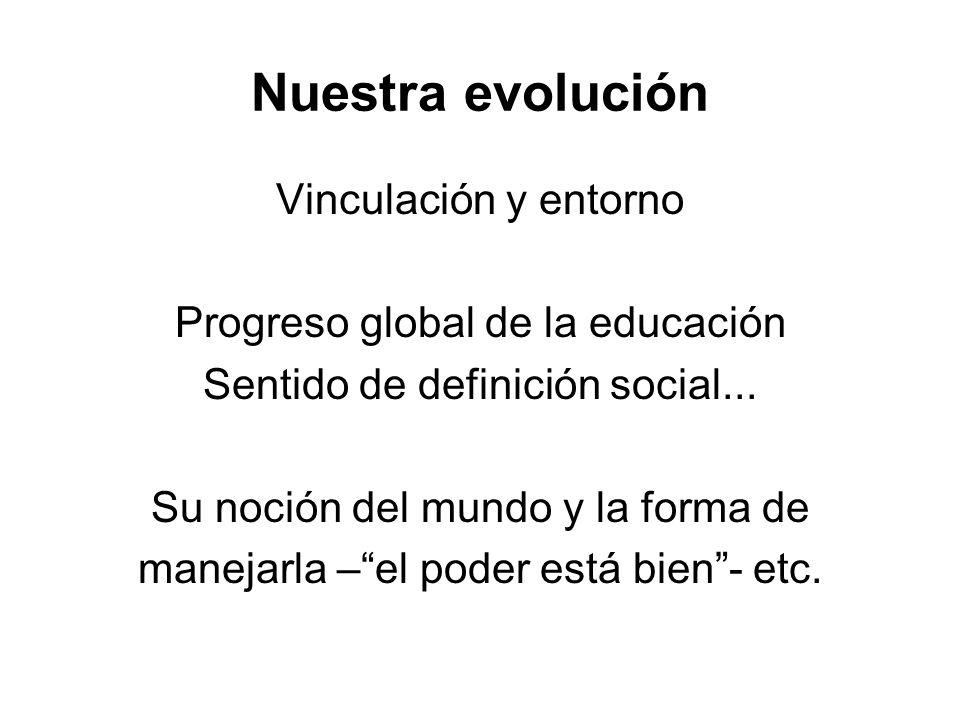 Nuestra evolución Vinculación y entorno Progreso global de la educación Sentido de definición social... Su noción del mundo y la forma de manejarla –e