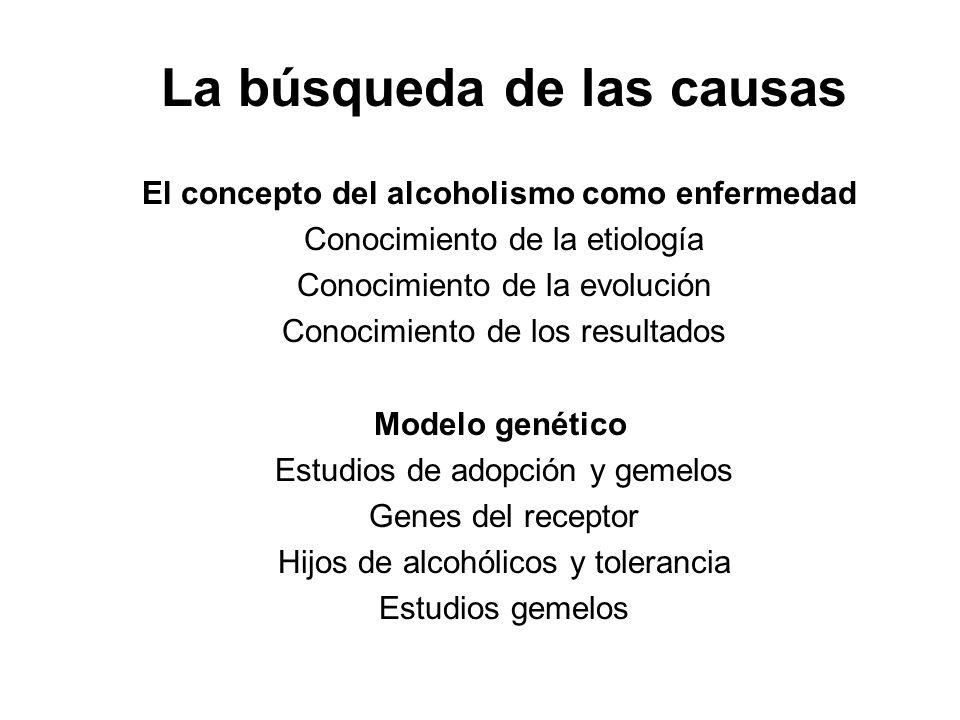 La búsqueda de las causas El concepto del alcoholismo como enfermedad Conocimiento de la etiología Conocimiento de la evolución Conocimiento de los resultados Modelo genético Estudios de adopción y gemelos Genes del receptor Hijos de alcohólicos y tolerancia Estudios gemelos