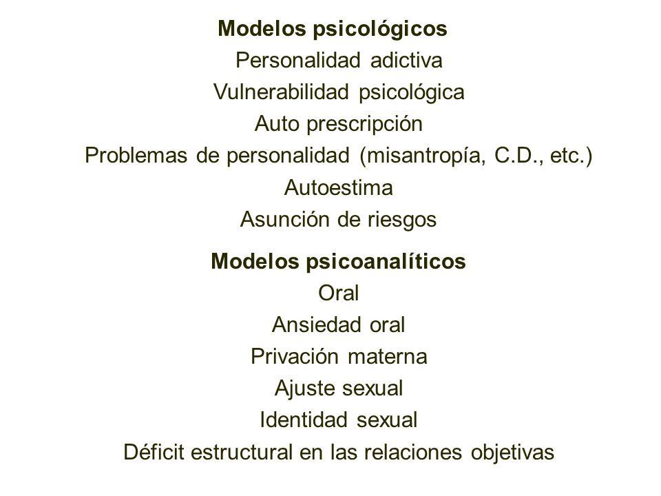 Modelos psicológicos Personalidad adictiva Vulnerabilidad psicológica Auto prescripción Problemas de personalidad (misantropía, C.D., etc.) Autoestima Asunción de riesgos Modelos psicoanalíticos Oral Ansiedad oral Privación materna Ajuste sexual Identidad sexual Déficit estructural en las relaciones objetivas