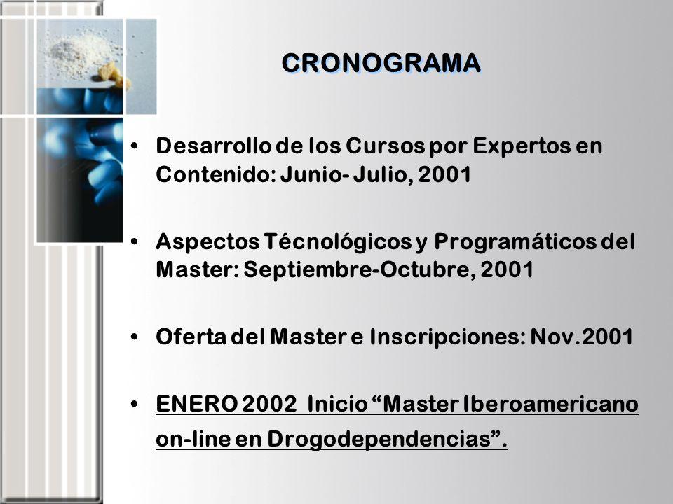 CRONOGRAMA Desarrollo de los Cursos por Expertos en Contenido: Junio- Julio, 2001 Aspectos Técnológicos y Programáticos del Master: Septiembre-Octubre