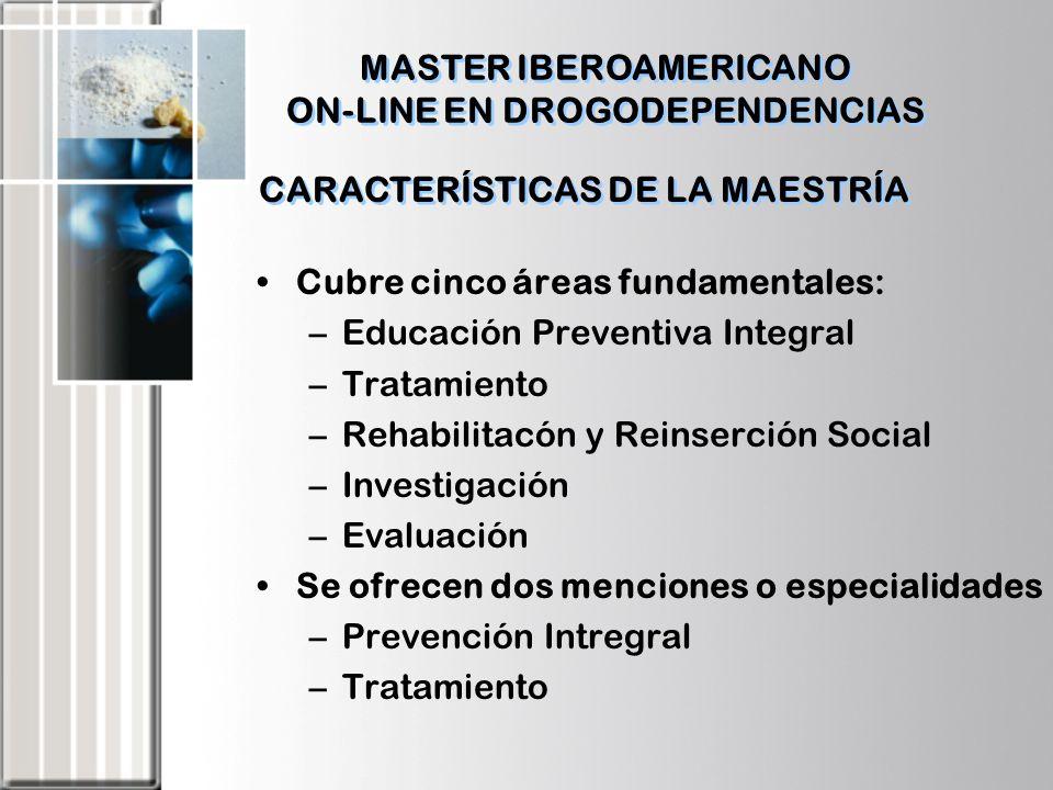 CARACTERÍSTICAS DE LA MAESTRÍA Cubre cinco áreas fundamentales: –Educación Preventiva Integral –Tratamiento –Rehabilitacón y Reinserción Social –Inves